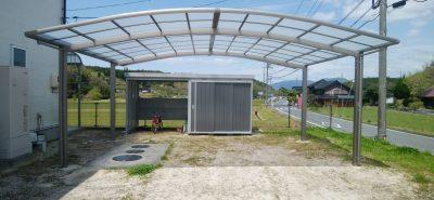 施工事例:ワイドカーポート & 駐輪場付き物置