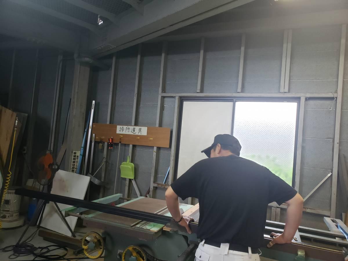 作業場 柱加工 梅雨 ギャラリーパティオの現場ブログ メイン写真