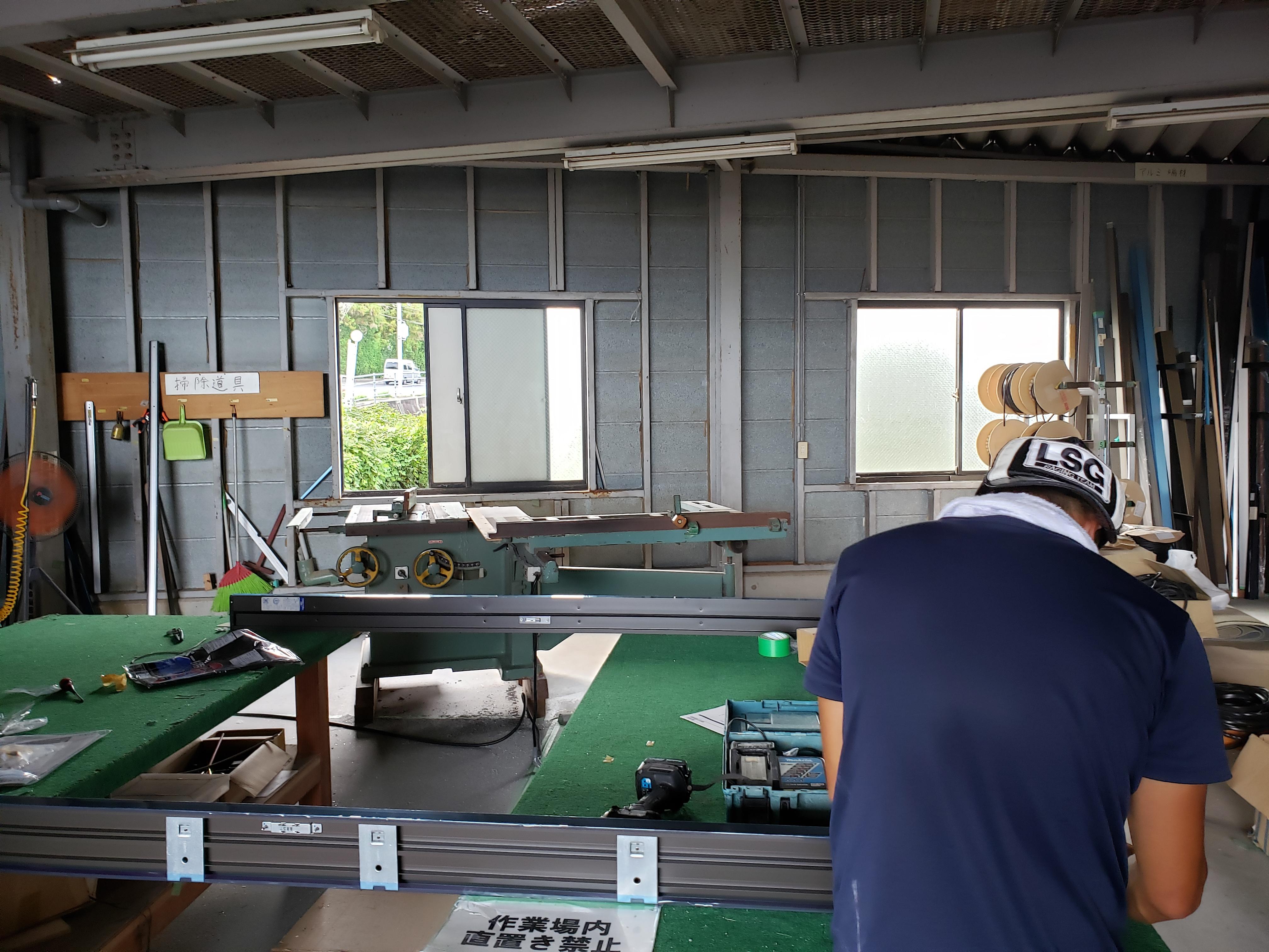 朝の作業場 リシェント 組立 ギャラリーパティオの現場ブログ メイン写真