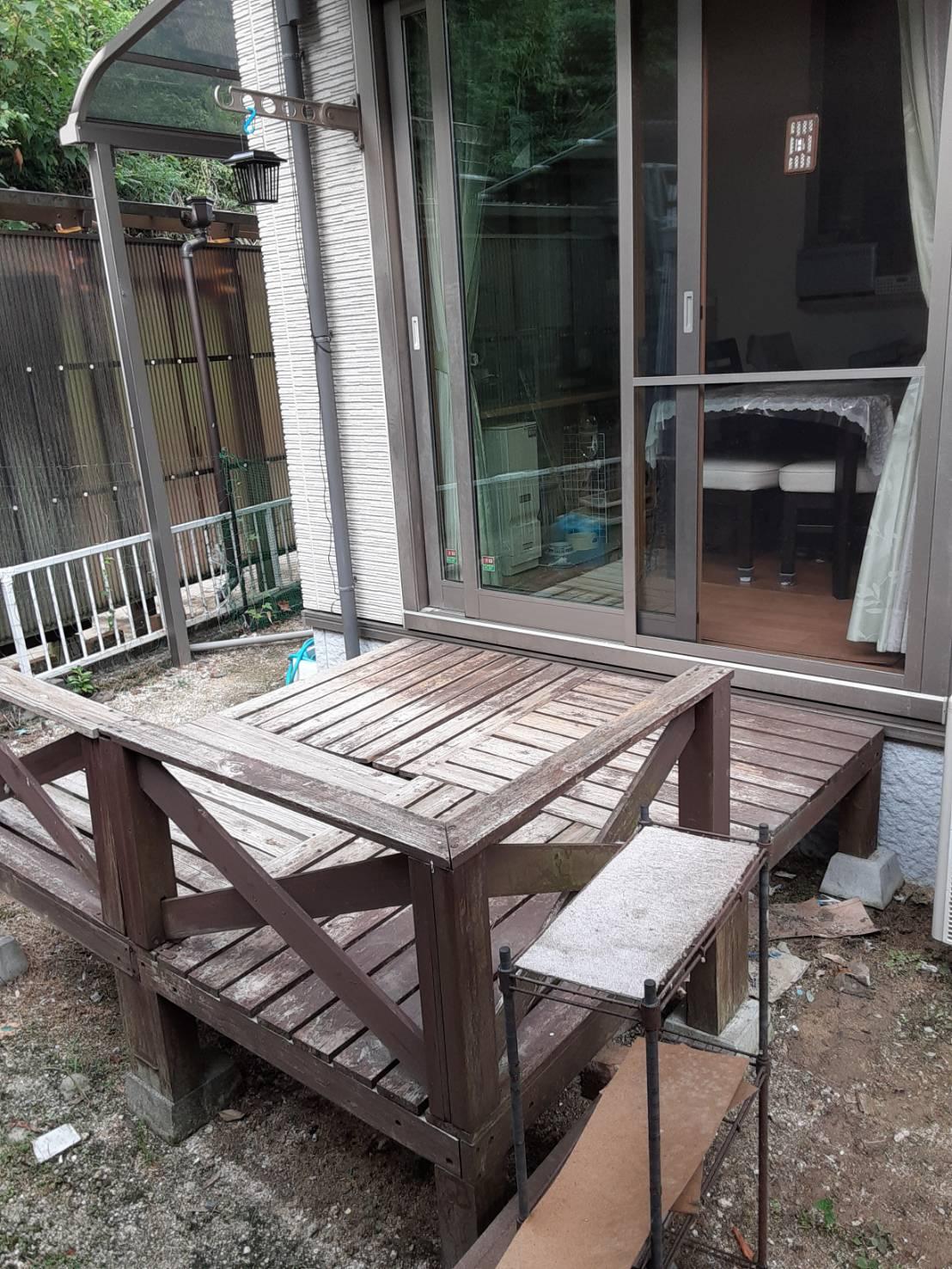 ギャラリーパティオのウッドデッキ 及び テラス工事の施工前の写真1