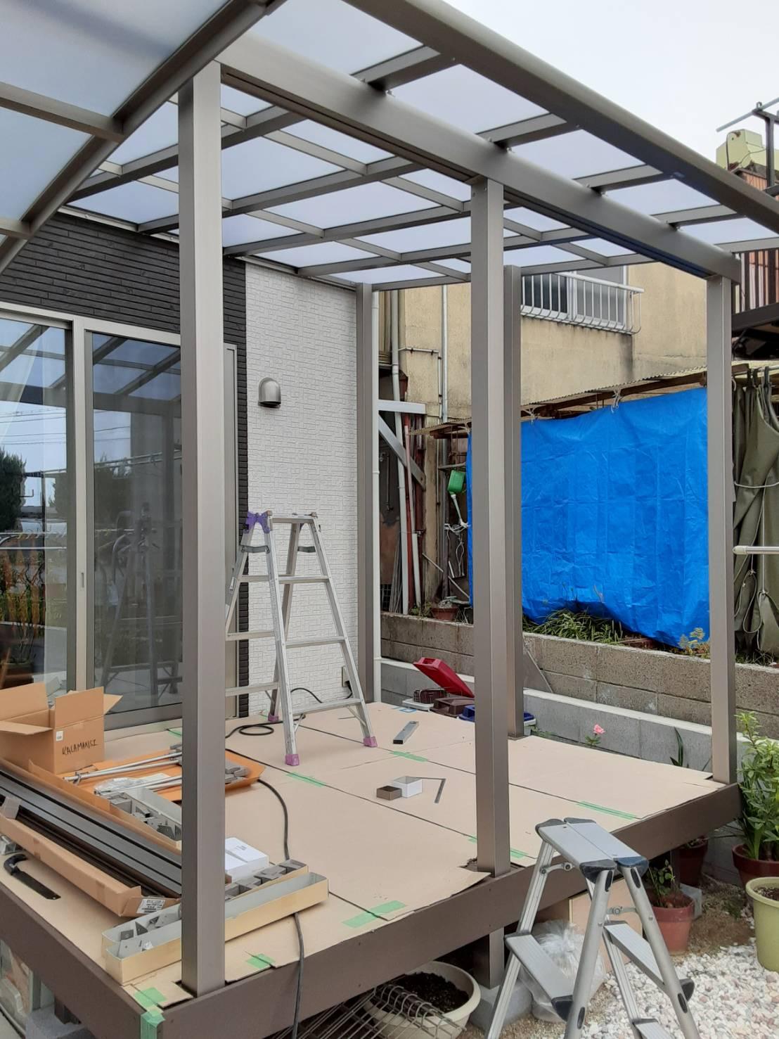 ギャラリーパティオのウッドデッキ+テラスの施工後の写真2